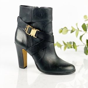 Vince Camuto Black Leather Heel Bootie Mid Calf